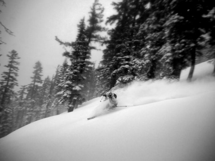Woman skier, Tele skier, Winter, Snow, Backcountry, Tahoe, Powder, Turns, Freshies, Powder day, Happiness, Black and white,