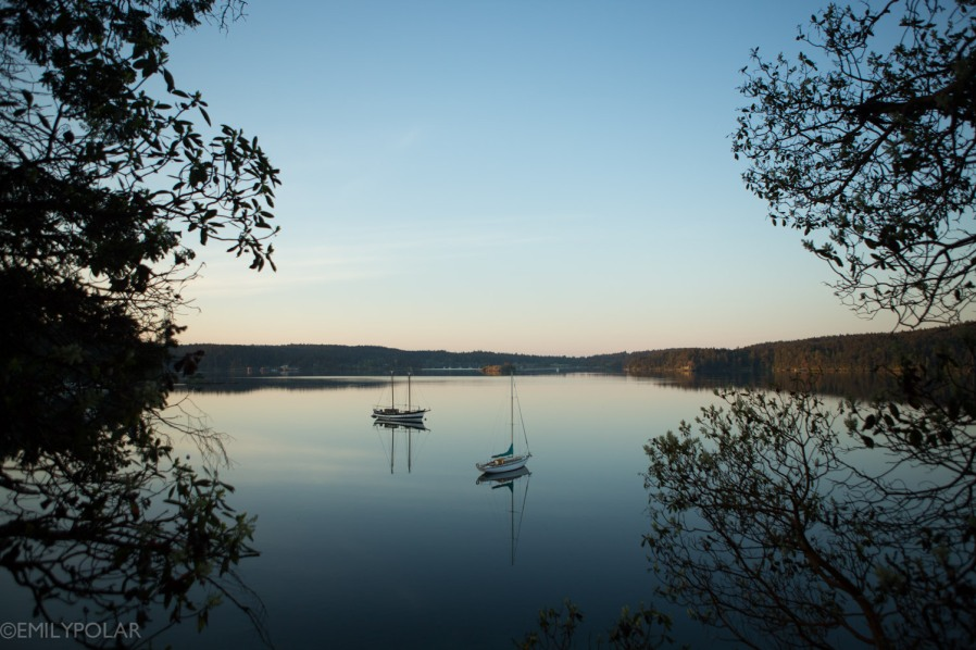Sail boats rest on still water before sunrise on Orcas island.