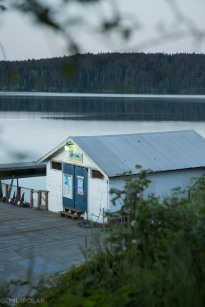 Cute shop and shed on dock on Orcas Island in the early morning.