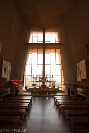 View of the interior church of the Chapel of the Holy Cross in Sedona.