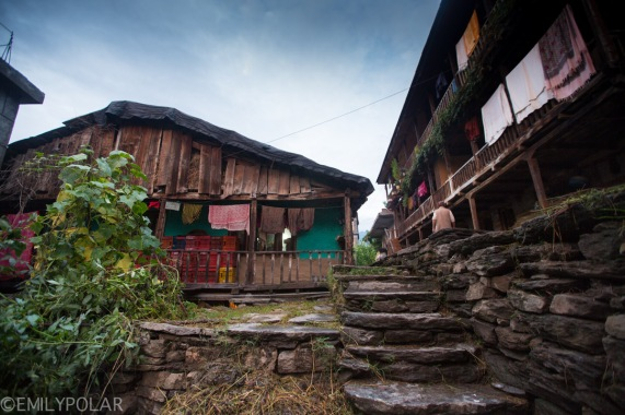 Typical wooden home in the streets of Vashisht, India.