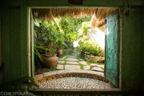 The beautiful grounds of Temple Lodge in Bingin Beach, Bali.