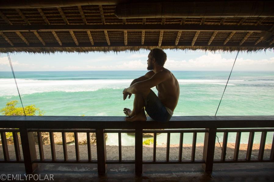 Interior of an amazing beach house on the shores of Bingin Beach, Bali.