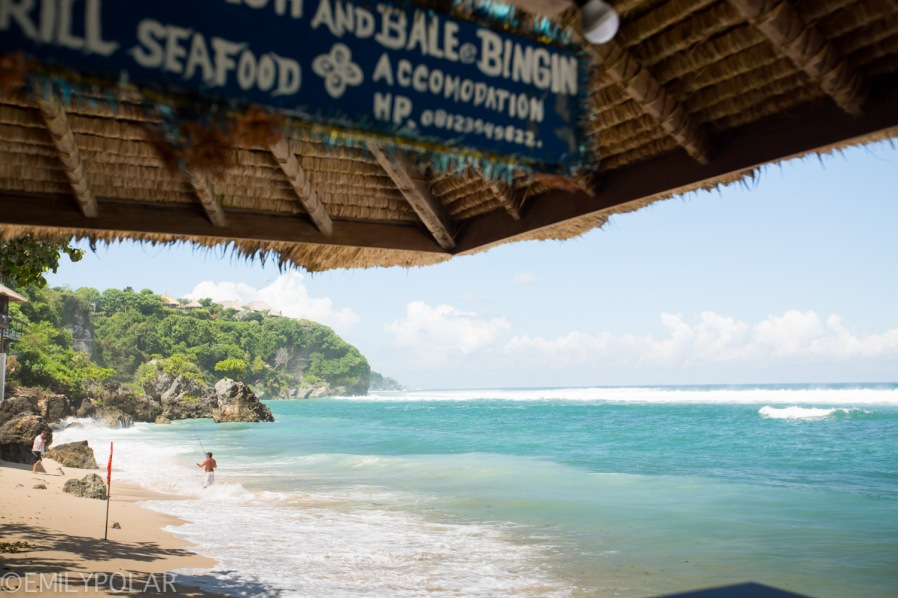 Seafood cafe on the beach in Bingin, Bali.