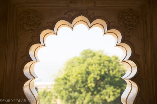 Classical shaped arch window in the City Palace at Udaipur.