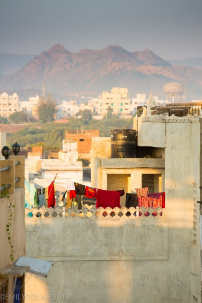 View of the roof tops of Udaipur at sunrise from Hanuman Hotel in Rajasthan.