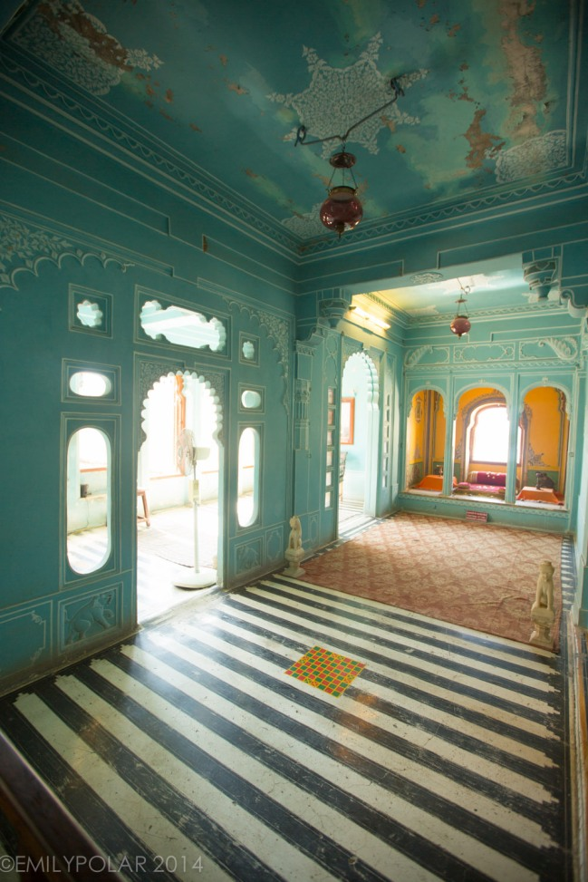Beautiful interior rooms of the City Palace in Udaipur, India.