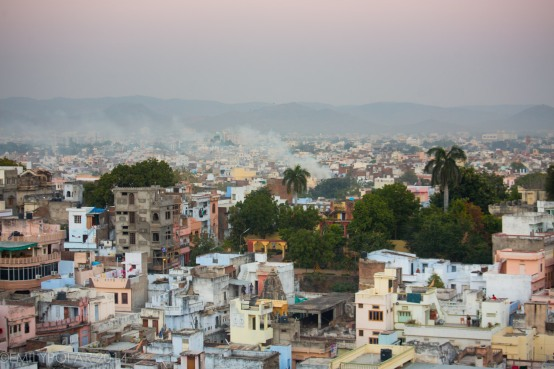 View of Udaipur at sunset from the City Palace.