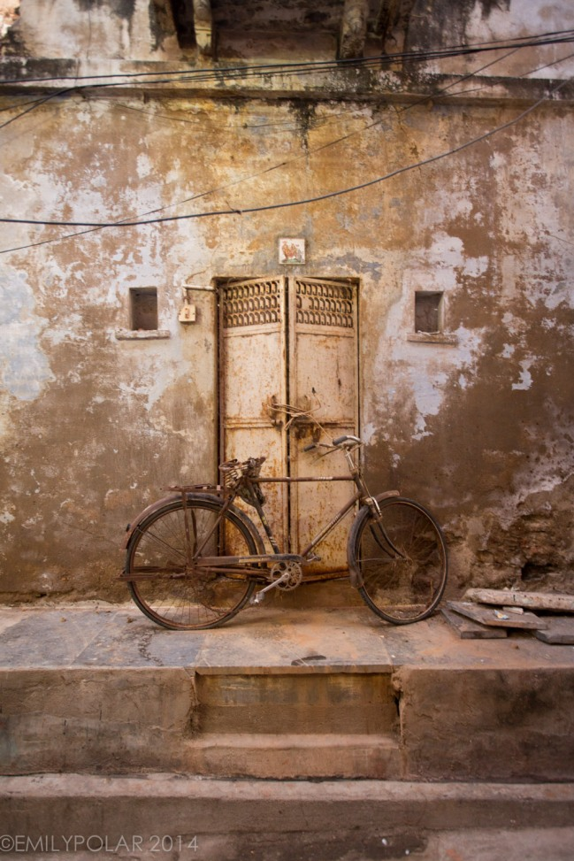Old rusty bike resting up against doorway in the streets of Udaipur.