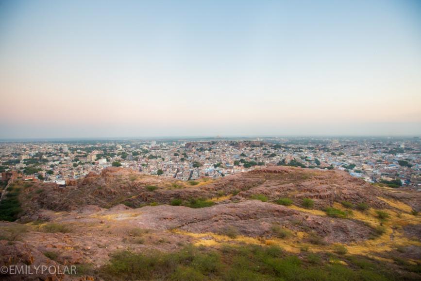 View of Jodhpur from the hills near Mehrangarh Fort.
