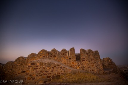 Stone wall along the hillside near Mehrangarh Fort in Jodhpur, Rajasthan.