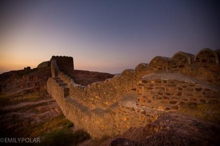 Stone wall along the hillside above Jodhpur near Mehrangarh Fort in Rajasthan.