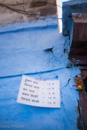 Price list for chai in the streets of the blue city of Jodhpur.