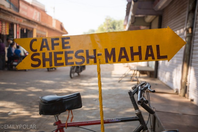 Cafe sign for Sheesh-Mahal in Jodhpur, Rajasthan.