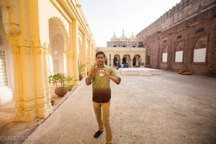 Indian boy taking picture of me with his phone in Mehrangarh Fort, Jodhpur.