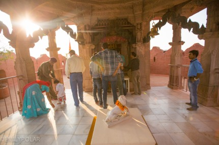 Indians making offerings at the top of Mehrangarh Fort in Jodhpur, India.