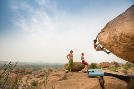 Local man Tom bouldering Little cobra in Access Denied area in Hampi.