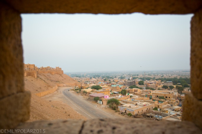 View of the streets of Jaisalmer at dusk from the top of the fort.