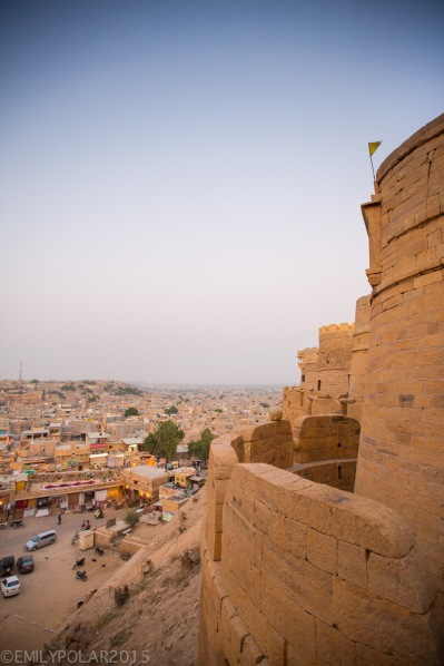 View of Jaisalmer at dusk from the top of the fort.