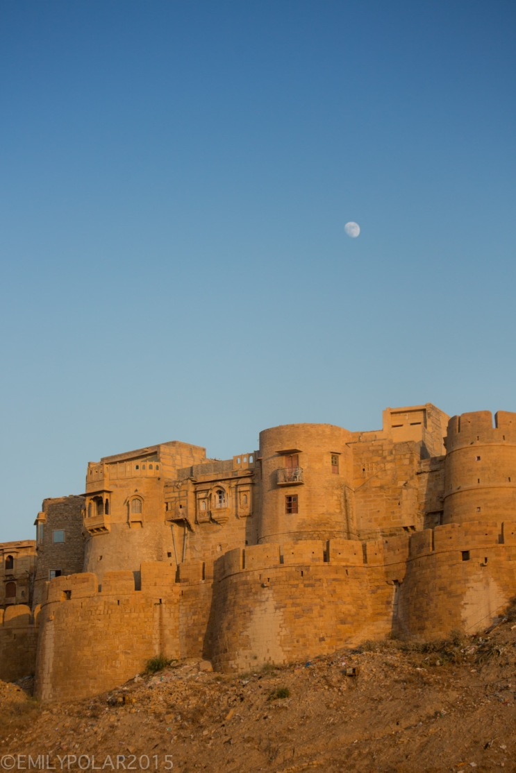 Moon rising over the fort in the golden city of Jaisalmer.