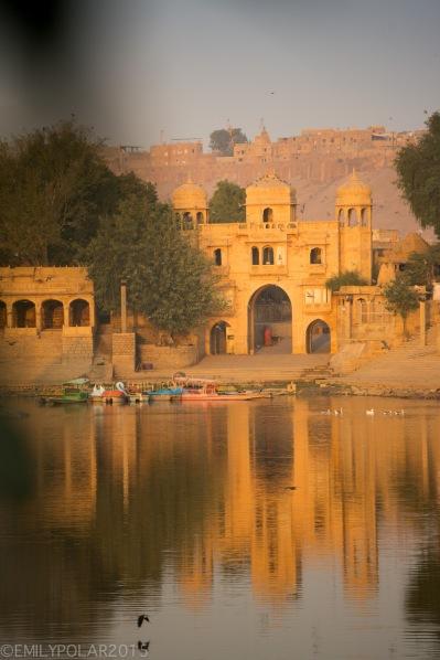Sunrise over Sagar lake at Amar Sagar temple complex in Jaisalmer.