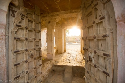 View to inside of temple with arching windows and pillars in the Golden City of Jaisalmer.