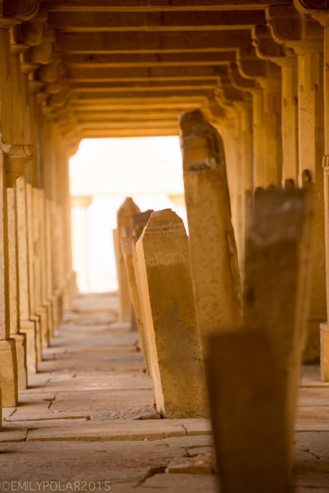 Golden light shinning on teh sand pillars at Bada Bagh in Jaisalmer.