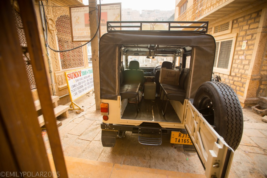 Back of an open jeep waiting to be loaded up in Jaisalmer for a Camel Safari in the Thar desert.