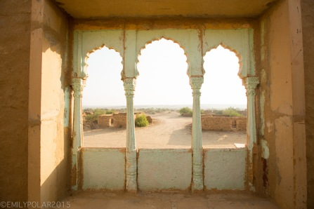 Classical arch windows in old mud home in the Thar Desert of Rajasthan.