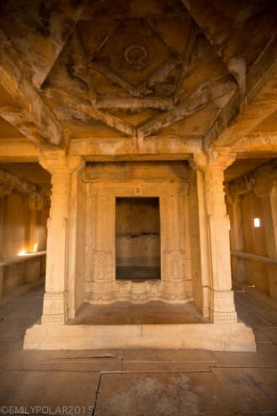 Interior structure of mud and wood home with amazing stone work in the ghost town of Kuldhara.