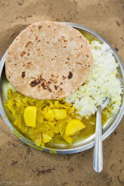 Simple veg meal of rice, roti and veg in the Thar desert.