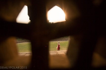 Woman walking around the grounds of Humayuns Tomb of Delhi framed through a carved window inside.