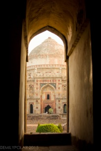Beautful and itntricate carvings and arches at the Sheesh Gumbad Mosque in Lodi Gardens, Delhi, India.