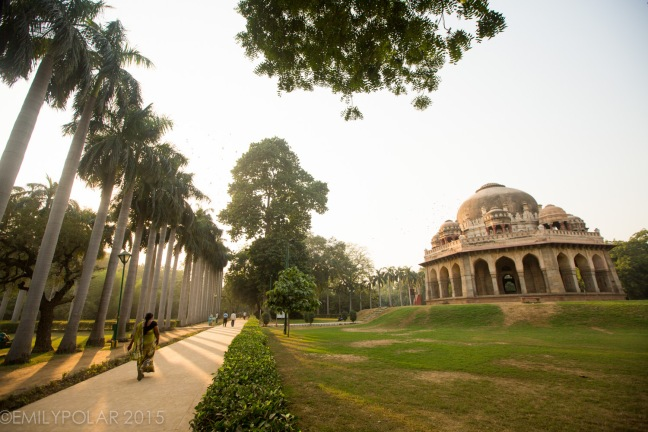 View of Mohammed Shah's Tomb at dusk in Lodi Gardens, Delhi.