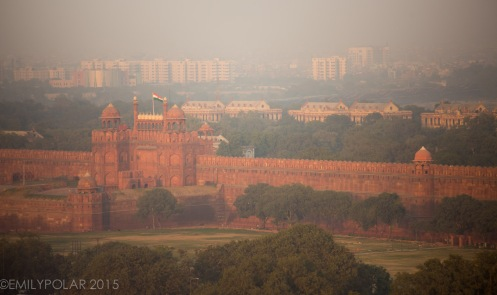 Aerial view of the Red Fort seen from Jama Masjid Mosque in Old Delhi.