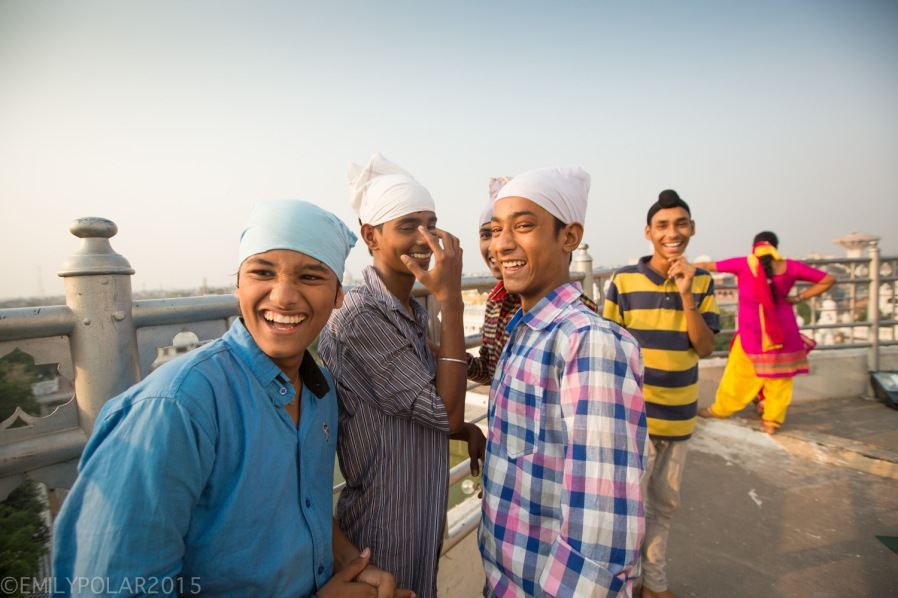 Portrait of young Punjabi men laughing in Amritsar, Punjab.
