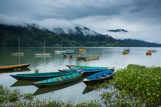 Wooden boats anchored on Pokhara Lake on a cloudy day in Pokhara, Nepal.