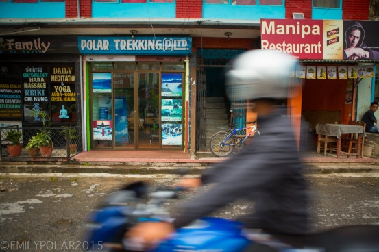 Polar Trekking store in the streets of Pokhara, Nepal.
