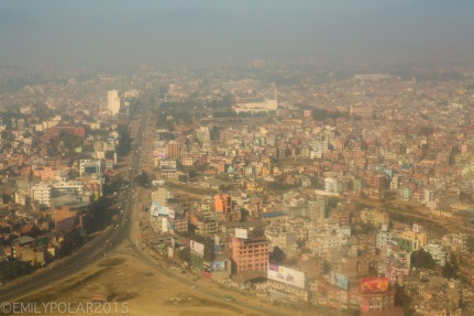 Aerial shot of the Ring road in the Kathmandu valley, Nepal.