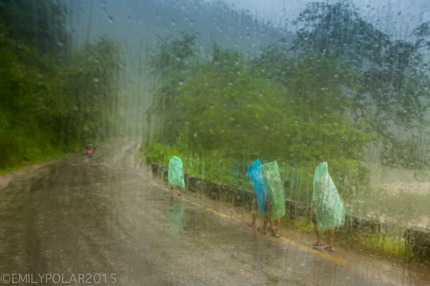Nepali's walking down the road in plastic ponchos in the rain.