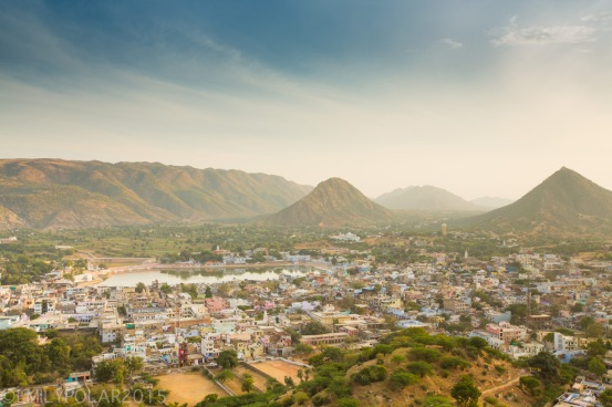View of Pushkar from above at Gayatri Temple.