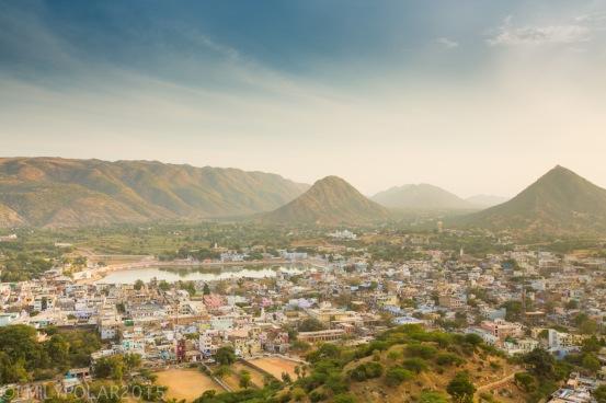 View of Pushkar from above at Gayatri Temple.