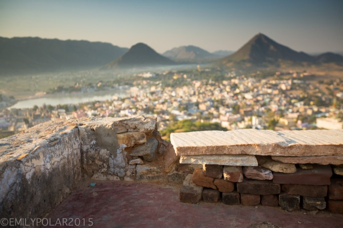 Still life of a bench at Gayatri Temple at sunrise in Pushkar.
