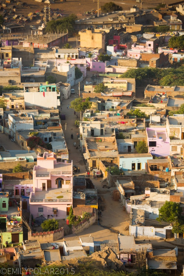View of home and streets from above at Gayatri Temple in Pushkar, India.