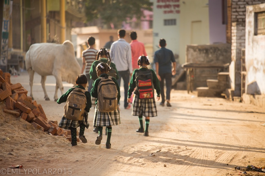 Young Indian girls wearing their school uniform walk down a dusty street in Pushkar to school in the early morning sun.