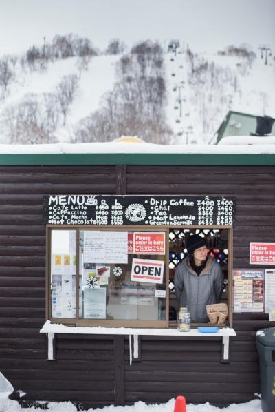 Small cafe serving food at base of Annupuri resort in Niseko, Japan.