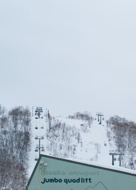 Jumbo quad lift at the base of Annupuri mountain in Niseko, Japan.