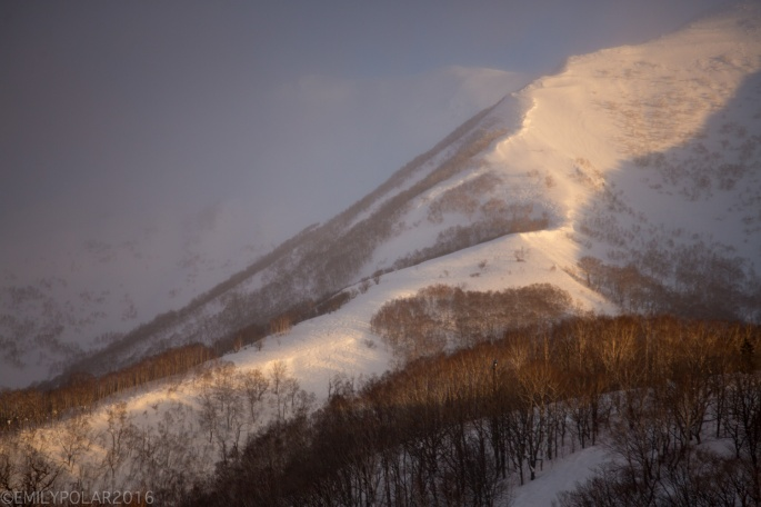 Annupuri mountain glowing in pastel tones at sunrise in Niseko, Japan.
