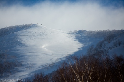 Snowboarder standing on ridge of Annupuri going into the backside toward Goshiki where fresh turns await in Niseko, Japan.