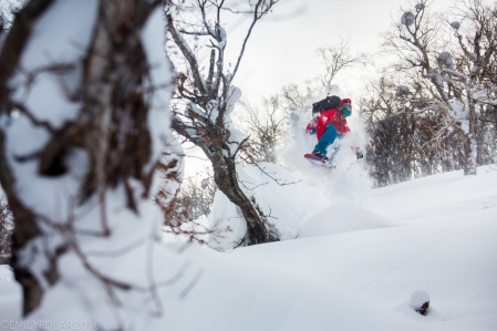 Snowboarder wearing red jacket riding his split board in the fresh powder backcountry near Kiroro Resort, Japan.